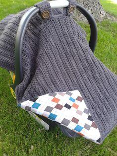 Slonaker Deyoung Crocheted FabricLined Infant Car Seat Canopy by GetTheeToAYarnery Crochet Fabric, Crochet Crafts, Crochet Projects, Baby Patterns, Crochet Patterns, Diy Bebe, Baby Time, Crochet For Kids, Free Crochet