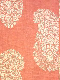 Paisley - Picture Colors: Cream on Coral / Melon Motif Paisley, Motif Floral, Paisley Design, Paisley Pattern, Paisley Print, Paisley Fabric, Ikat Print, Textiles, Textile Prints