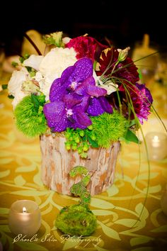 Loved creating a Shakespearean Wedding with green, purple, white, and burgundy. The wood vessel & moss numbers make this ultra chic!  www.hauteeventdesign.com  #Wood, #Centerpiece, #Dianthus, #VandaOrchids, #HypericumBerries, #Moss, #UniqueNumbers, #Wedding