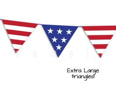 The Extra Large Red, White and Blue triangle garland comes in two sizes. Print this HIGH RESOLUTION PDF on your own printer or at your local print store on WHITE CARDSTOCK.  Detailed and easy instructions included with each download.  RED and BLUE color may vary due to the type of ink used in your printer.  FOR BEST RESULTS  Print garland on white CARDSTOCK and use the Best or High Quality print setting on your printer. Cardstock is available at most stores that sell printer paper.  PRODUCT…