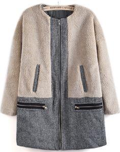 Apricot Long Sleeve Contrast Houndstooth Coat - Sheinside.com