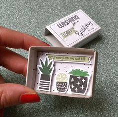 """This is a very funny little birthday card for any guy or girl who loves plants, but cant seem to keep them alive (like me).  D E S I G N ♥ One small matchbox ♥ Measures: 2 1/8 x 1 1/2"""" x 9/16 (54 x 38 x 15 mm) ♥ You can write a tiny note on the back of the matchbox  S H I P P I N G ✈ Each item is packaged in a small cellophane bag and shipped in a padded envelope ✈ From the Netherlands with ♥ to all over the world   N O T E S ▲ Colors may vary due to monitor settings on differe..."""