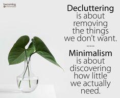 Minimalism vs decluttering