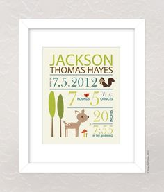 Nursery Wall Art Print Custom (Baby Name and Birth Stats) 8x10 Forest Friends, Baby Shower Gift. $17.00, via Etsy. #pinparty