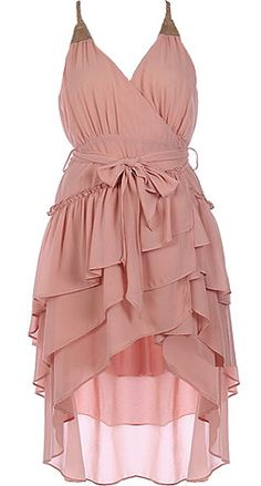 Sweet Patisserie Dress: Features a super flattering wrap design with braided straps and surplice bodice, banded and ruched empire waist, adjustable ribbon sash at waist, and pretty layers of angled ruffles cascading down the hem to finish.