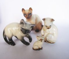 Vintage Porcelain Siamese Cat Figurine figure lot Bone China Miniature Ceramic Kitten Kitty Glossy finish Playful Blue Eyed Fine details