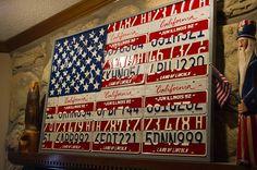 American Flag License Plate Art.. 50 Hand Cut Stars!