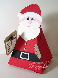 Santa box made with the petal cone die ... luv all the details: clipboard with list, shiney buttons, cute pom pom on his cap ... delightful! ... Stampin' Up!