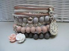 Armbandenset 5 stuks grijs / wit / vintage roze