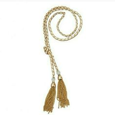 WHITE AND GOLD CHAIN TASSEL NECKLACE