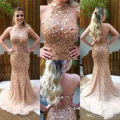 266 usd.Halter Prom Dress,Long Prom Dress,Backless Prom Dress,Mermaid Prom Dress,Beaded Crystals Prom Dresses