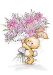 Wild Rose Studio Clear Stamp, Bunny with Flowers Cute Drawings, Animal Drawings, Cute Images, Cute Pictures, Bunny Art, Tatty Teddy, Animal Cards, Cute Illustration, Clear Stamps