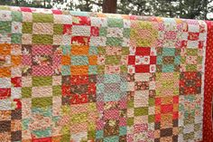 Quilt Patchwork Handmade Honeysweet Bonnie and Camille Lap Throw Scrappy Red Bed Cover Colorful Bedding