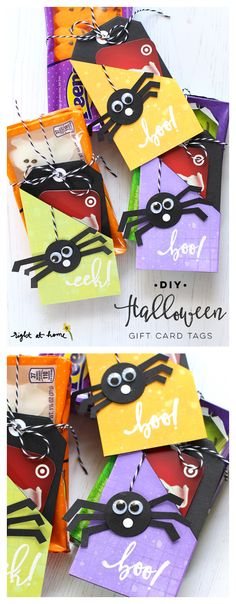 The best DIY projects & DIY ideas and tutorials: sewing, paper craft, DIY. Best Diy Crafts Ideas For Your Home DIY Halloween Gift Card Tags Diy Halloween Gifts, Halloween Decorations For Kids, Halloween Home Decor, Halloween Activities, Halloween Cards, Holidays Halloween, Halloween Ideas, Card Tags, Lifehacks