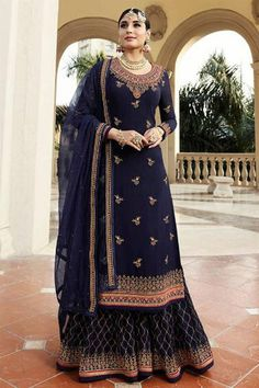 Buy Kritika Kamra Blue Embroidered Sharara Suit online, SKU Code: This Blue color Party sharara suit for Women comes with Embroidered Faux Georgette. Pakistani Wedding Dresses, Pakistani Suits, Indian Dresses, Indian Outfits, Punjabi Suits, Shadi Dresses, Pakistani Clothing, Wedding Hijab, Wedding Attire