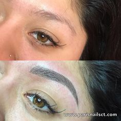 """Before and After Eyebrows 3D Microblading (semi-permanent hairstrokes eyebrows tattoo).  PRICE: $450.00 appointments are available on our website. *****www.parisnailsct.com ****** click on """"Microblading"""" for Questions & Answers before booking. To book for appointments click """"schedule an appointment"""".  Paris Nails  500 Boston Post Road Orange, CT 06477  (203) 283-5881  (Message us to be on our cancellation list)  *****Instagram: parisnails500******"""