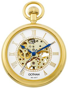 Gotham Men's Gold-Tone 17 Jewel Mechanical Open Face Pocket Watch # GWC14034GR #Gotham