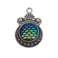 Mermaid Scale Charms Dragon Scale Pendants Rainbow Blue