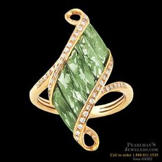 Bellarri peridot and diamond ring from Pearlman's Jewelers