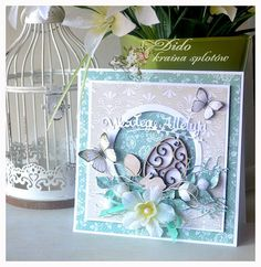 Homemade Modern, Easter Greeting Cards, Card Making Inspiration, Baby Cards, Flower Cards, Cardmaking, Origami, Decoupage, Ornament