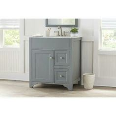 Accanto Contemporary Inch Grey Finish Bathroom Vanity Marble