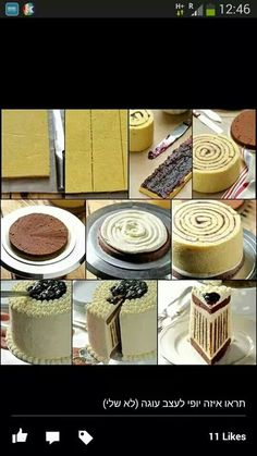 Spiral cake Use a sponge cake cut to strips, place a thin coat (ganash/jam/cream of choice), and spiral like shown on pictures. At the endcover everything with fondant or cream