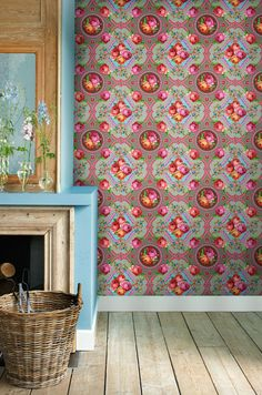 It's a little wild looking, but I like it - I'm assuming it's wallpaper?  love the bright colors