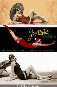 The 1920s Jantzen swimsuit. After this nifty and shapely swimming costume first burst on the scene in the USA in 1920 - it quickly took the UK and Europe by storm. It is often suggested that modesty finally took her bow at the beach in this era. The parasol was a lovely accessory which could make a welcome return to beach fashions today should we see it appear in future episodes!