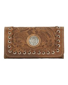 American West | Women's Harvest Moon Tri-Fold Wallet | Hand-tooled vegetable tanned antique brown leather, accented with leather whip stitching and a silver floral concho. | Country Outfitter
