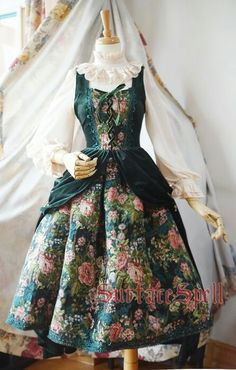Surface Spell -Winter Rose Garden- Gobelin Vintage Gothic Lolita Jumper Dress – Customizable - All About Gardens Kawaii Fashion, Cute Fashion, Vintage Fashion, Rock Fashion, Pretty Outfits, Pretty Dresses, Beautiful Dresses, Old Fashion Dresses, Fashion Outfits