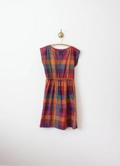 vintage 70s plum plaid picnic dress