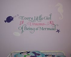 How perfect is this decal- Mermaid or ocean themed room for a little girl would be complete with this darling wall decal