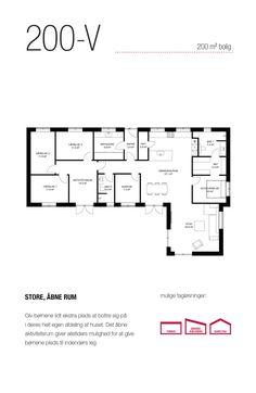200 kvm vinkel-hus med plads til en stor familie i store, åbne rum. House Drawing, Exterior Design, Future House, Planer, House Plans, Sweet Home, Floor Plans, House Design, How To Plan