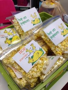 Hop on Popcorn - Cute idea for Dr. Seuss snack food for a birthday party or shower.