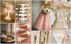 blush pinks , ivory and gold