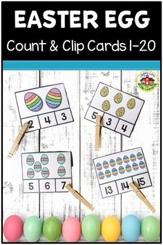 Develop preschool counting and number recognition skills with these Easter Egg Counting Clip Cards Use in a small group, math center, or as a quiet-time activity. Circle Time Activities, Counting Activities, Easter Activities, Montessori, Number Recognition, Easter Colors, Little Learners, Beginning Of School, Easter Eggs