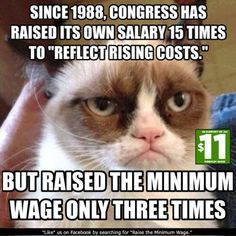 Every time that congress votes itself a raise, then minimum wage should go up as well. Description from pinterest.com. I searched for this on bing.com/images