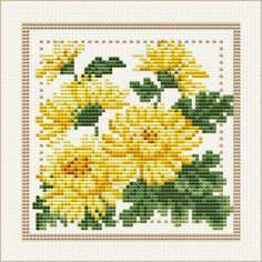 November - Chrysanthemum, Project 2010 - Flower of the Month, designed by  Ellen Maurer-Stroh, from EMS Cross Stitch Design.