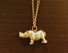 Rhinoceros Charm Necklace by ElizabethLoch on Etsy