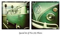 VW Van - Special Set of two Square Photos - Volkswagen Van at the beach. $28.00, via Etsy.