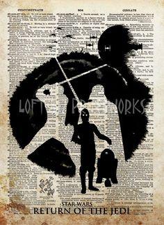 Star wars art print, Return of The Jedi poster, vintage star wars art, dictionary print