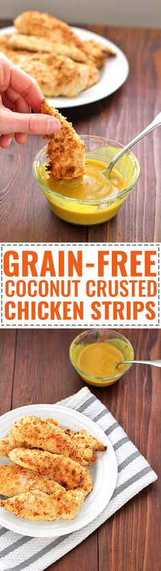Grain-free Coconut Crusted Chicken Strips Recipe! So easy and delicious - a crowd favorite!
