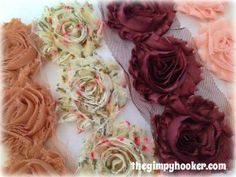 Shabby Rose Trim Mix 12 Fabric Flowers, Wholesale Fabric Flowers for weddings, headbands, shoes, and more by TheGimpyHooker Diy Headband, Headbands, Flowers Wholesale, Flower Making, Fabric Flowers, Wedding Flowers, Shabby, Weddings, Trending Outfits