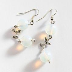 White Opal Glass  Earrings Dangle Earrings. by MaddaKnits on Etsy