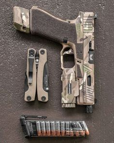 from - Not your ordinary glock My custom with threaded/fluted barrel, APL, HD Night Sights & Velocity mag extension. Multicam cerakote by the cerakote. Military Weapons, Weapons Guns, Guns And Ammo, Tactical Equipment, Tactical Gear, Glock Guns, Hunting Rifles, Crossbow Hunting, Custom Guns