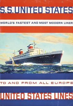 Lot 413: Original 1950s S.S. United States Lines Travel Poster - PosterConnection Inc. | AuctionZip