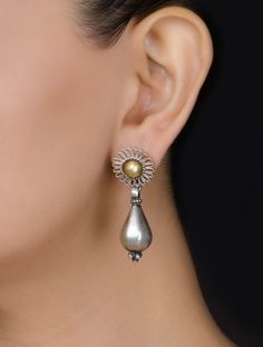 Buy Silver Golden Floral Earrings by Amrapali Jewelry The Flower Classic Online at Jaypore.com