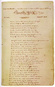 Emily Bronte. The first page of her Gondal poems notebook. This notebook was discovered by Charlotte and was to prompt the sisters to first publish (not very successfully, either).