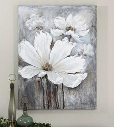This frameless, high gloss hand painted artwork is painted on canvas then stretched and attached to wooden stretching bars. Features raised areas giving a 3-dimensional effect. Due to the handcrafted nature of this artwork, each piece may have subtle differences.36 W X 48 H X 2 D (in)