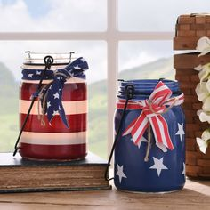 Top 25 4th of July Porch Decor Ideas 4th Of July Parade, Fourth Of July Decor, 4th Of July Decorations, July 4th, Holiday Decorations, Cubicle Decorations, Mason Jar Candle Holders, Mason Jar Candles, Mason Jar Crafts